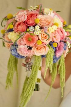 Peach, pink, green, blue, coral, yellow, and blue bouquet! So spring!