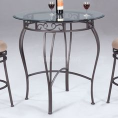 Wrought Iron Round Counter Height Table