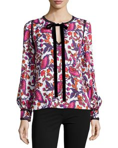 W0CZZ Andrew Gn Long-Sleeve Printed Tie-Neck Blouse, White