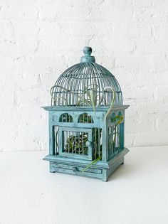 A #Bohemian style #wedding needs a few of these unique #birdcages on a long reception table...guaranteed oohs and aahs! Air Plant in Blue Bird Cage - Distressed Teak LIVE Garden by EarthSeaWarrior  http://etsy.com/listing/75876195/air-plant-in-blue-bird-cage-distressed  Photo Credit: EarthSeaWarrior  http://etsy.com/shop/EarthSeaWarrior