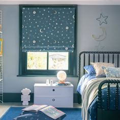 Enjoy a starry nights sleep with this celestial inspired print. Perfect for moon lit evenings and children's bedrooms. Fabric Blinds, Curtains, Childrens Blinds, Nursery Blinds, House Blinds, Blackout Blinds, Guest Bathrooms, Roman Blinds, Room Themes