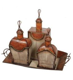 3 Piece Decorative Orange Ceramic Perfume Bottles w/ Metal Tray