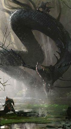 Orm Art by Fria Ligan Source by Dark Fantasy Art, Fantasy Kunst, Fantasy Artwork, Fantasy World, Digital Art Illustration, Illustration Fantasy, Manga Illustration, Monsters Rpg, Arte Obscura