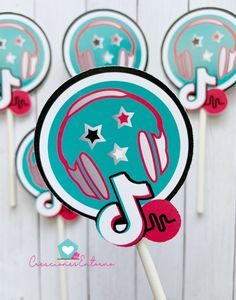 Tik Tok and Musically Cupcake Toppers Birthday Party Decorations, Party Themes, Birthday Parties, Party Ideas, Cupcake Toppers, Cupcake Cakes, Party Labels, 18th Birthday Cake, Cookie Designs
