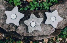 Fáciles candeleros de cemento.