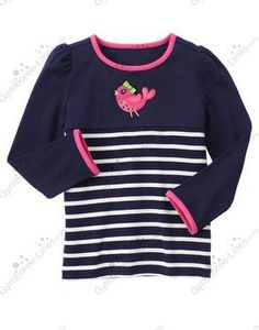 NWT Gymboree Showers of Flowers Gem Bird Stripe Tee - Size 3 & 4 (1 each) - $14 each