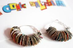 Recycled vintage comic book earrings by comicsalvage on Etsy, $15.00