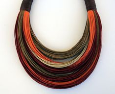 Brown Maroon and Orange Fiber Statement by superlittlecute on Etsy