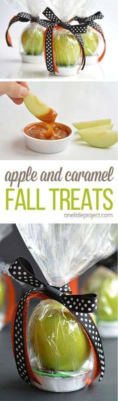 Basket Gifts These apple and caramel fall treats are such a GREAT alternative to candy! They'd be fantastic as teachers gifts, party favors or even fall birthdays! Thanksgiving Treats, Fall Treats, Holiday Treats, Halloween Treats, Christmas Treats, Diy Christmas, Holiday Fun, Holiday Gifts, Teacher Treats