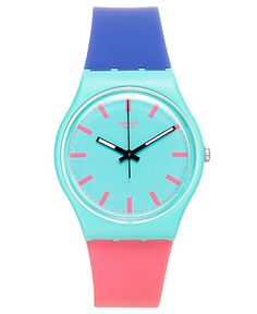 A Shunbukin watch from Swatch. | Blue and pink silicone strap with green buckle and pink loop | Round green plastic case, 34mm | Green dial with pink indices, black luminous hands and logo | Swiss qua