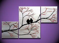 Love Birds in Tree Brance ORIGINAL Large Wall Art 40 x by OritArt purple painting, $199.00