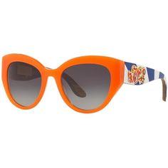 Dolce & Gabbana Dg4278 52 Orange Cat Sunglasses (€690) ❤ liked on Polyvore featuring accessories, eyewear, sunglasses, glasses, orange glasses, striped sunglasses, cat sunglasses, embellished sunglasses and cat-eye glasses