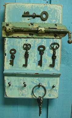 Key Holder Rack Sky Blue Skeleton Key With Vintage Hardware. $49.00, via Etsy.