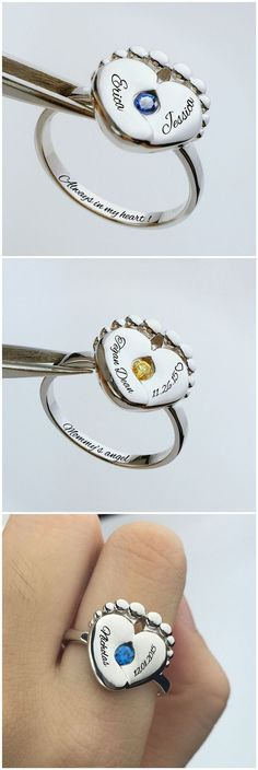 Personalized Heart Shaped Baby Feet Ring - Sometimes the smallest things take up the most room in your heart.Perfect Gifts for Mom,find more at: www.getnamenecklace.com
