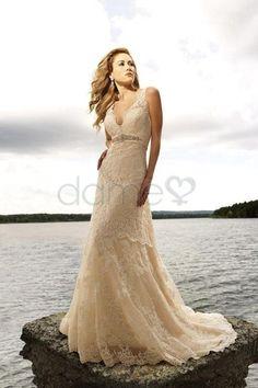 Meerjungfrau V-Ausschnitt Spitze Strand Satin einfaches bodenlanges Brautkleid