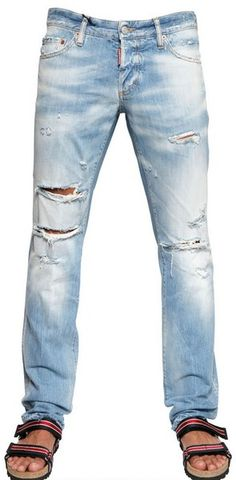 Dsquared2  Beach Slim Fit Destroyed Jeans in Blue for Men - Lyst