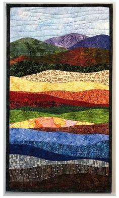 Acrylic Landscape, Watercolor Landscape, Landscape Art Quilts, Landscape Design, Landscape Drawings, Landscape Paintings, Art Watercolor, Art Textile, Quilting Designs