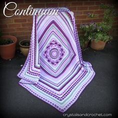 Continuum is a versatile design to use as a complete blanket/afghan pattern, or to enlarge any of my large afghan squares. Crochet Mandala Pattern, Granny Square Crochet Pattern, Afghan Crochet Patterns, Knitting Patterns, Crochet Afghans, Sweater Patterns, Knitting Ideas, Crochet Stitches, Crochet Stars