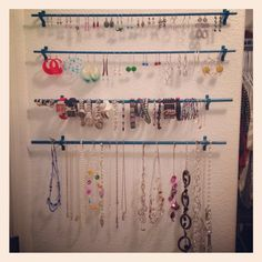 Diy jewelry rack behind the door from ikea Pinned it and did it