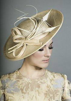 Rachel Trevor-Morgan Millinery - Fine natural straw small sidesweep with quill curls
