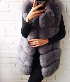 Women New 100% Genuine Blue Fox Fur Medium Vest Waistcoat Warm Winter Fur Jacket Plus Size