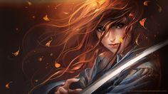 Sword Warrior - autumn, brave, fighter, sword, warrior, sakimichan, female, katana, anime girl