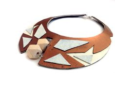 Geometric bib necklace Leather necklace Leather by julishland, $33.00
