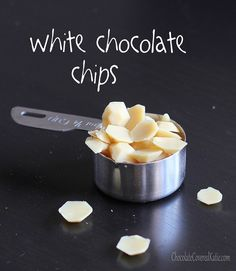 Healthy and vegan white chocolate chips.  *2-inch cube cacao butter (30 grams, or 2 tbsp after melting) scant 1/8 tsp pure vanilla extract stevia or powdered sugar to taste (2 tbsp if powdered sugar) 1 tbsp raw cashew or macadamia butter (can omit; it'll just be less creamy) (15g) very tiny pinch salt optional: I highly recommend adding 1/2 tsp dry milk powder