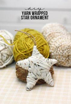 Xmas DIY: yarn wrapped star ornament tutorial we have soooo much yarn Noel Christmas, Diy Christmas Ornaments, Homemade Christmas, Christmas Projects, Holiday Crafts, Christmas Decorations, Glitter Ornaments, Cowboy Christmas, Christmas Foods