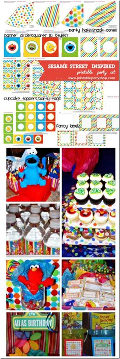 cute party ideas for sesame street  or elmo theme  Sesame Street Inspired Printable Party Set- Printable Party Shop www.printablepartyshop.com  kids party ideas and printables