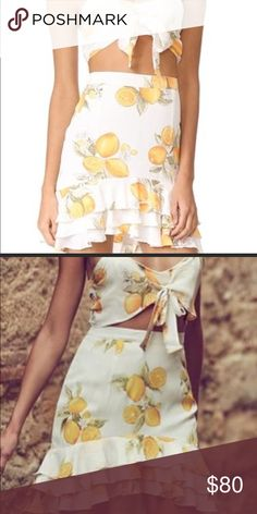 "For Love and Lemons Limonada skirt For Love and Lemons Limonada skirt! Gorgeous chiffon material. I ordered off of posh but it was slightly too big for me...I'm 5'3"" 125 lb. No tags, but does not have signs of wear. Will consider reasonable offers. For Love And Lemons Skirts Mini"