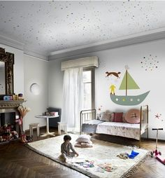 Possible free-style paint idea for boy's room.  Love simple painted art for focal point- but I would need more color in the rest of the room
