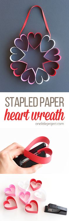This stapled paper heart wreath is such a fun and EASY Valentine's Day craft to make with the kids! It's a great little wreath to hang on a bedroom door (or school classroom door?) and it makes a super cute and simple Valentine's decoration! Valentine Day Crafts, Valentine Decorations, Holiday Crafts, Paper Decorations, Birthday Crafts, Birthday Ideas, Homemade Valentines, School Decorations, Heart Decorations