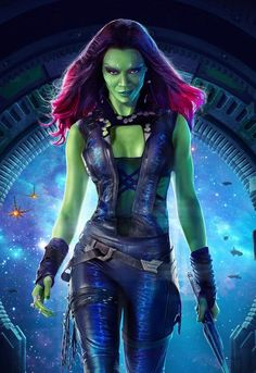 A new Guardians of the Galaxy poster for the upcoming Marvel film gives us a close-up look at Zoe Saldana as the alien assassin Gamora. Marvel Dc, Gamora Marvel, Films Marvel, Marvel Characters, Disney Marvel, Starlord And Gamora, Marvel News, Marvel Funny, Zoe Saldana