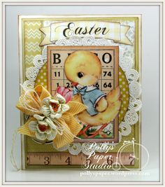 Sunny Yellow Easter Chick Greeting Card Handmade by PollysPaper on Etsy