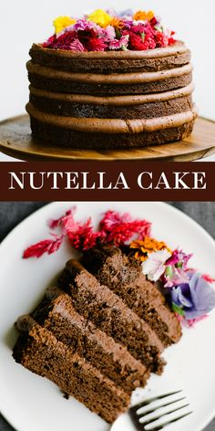 This homemade Nutella Cake features four layers of moist and tender Nutella chocolate cake with easy, from-scratch Nutella buttercream. Decorated with… - therezepte sites Valentine Desserts, Fun Desserts, Dessert Recipes, Easter Desserts, Thanksgiving Desserts, Easter Recipes, Nutella Chocolate Cake, Chocolate Recipes, Homemade Cake Recipes