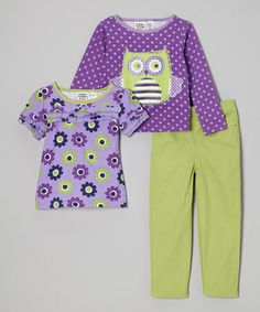 Purple & Lime Polka Dot Owl Tee Set - Infant & Toddler by Peanut Buttons #zulily #zulilyfinds