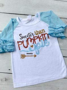 Pumpkin Pie Shirt - Personalized Pumpkin Shirt - Girls Fall Shirt - Thanksgiving Shirt - Halloween Raglan - Sweeter Than Pumpkin Pie