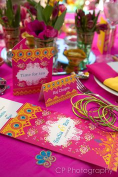 Stunning matching Asian wedding stationery from the collection Vintage Jewels of Jaipur. With matching accessories available. Asian place cards, Asian wedding invitations, Asian wedding tea bag favours.  All by www.fuschiadesigns.co.uk