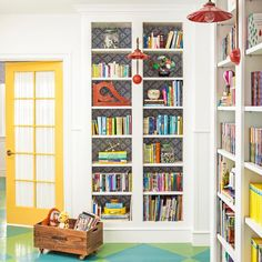 "78 Likes, 4 Comments - Alison Kandler Interior Design (@alisonkandler_interiordesign) on Instagram: ""Childrens Library #alisonkandler #alisonkandler_interiordesign #library #yellow #bluegreen #shelfie…"""