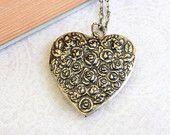 Large Heart Locket Necklace Antique Gold Brass Black Patina Roses Floral Locket Pendant Vintage Style Romantic Picture Locket Long Chain