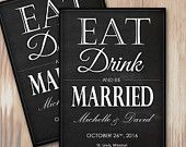 Get this adorable Eat Drink and Be Married Wedding Save the Date Invitation - Instant Download Microsoft Word Template from Spilled Glitter! #SpilledGlitterSTL #WeddingAnnuoncements #SavetheDate #Wedding