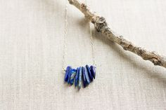 Small Lapis Bib Necklace by wanderingrootjewelry on Etsy