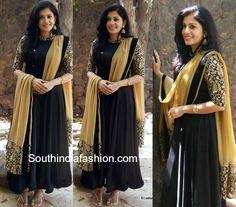 Shivada Nair in a Black Anarkali – South India Fashion Party Wear Maxi Dresses, Designer Party Wear Dresses, Kurti Designs Party Wear, Simple Kurti Designs, Kurti Neck Designs, Kurta Designs Women, Indian Gowns Dresses, Indian Fashion Dresses, India Fashion