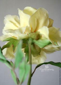 Цветы ручной работы. Лимонно-желтый пион из полимерной глины. Холодный фарфор.. КурОлеська (Богданович Олеся).…