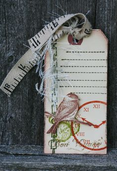 Love the tag tied with tape measure ribbon