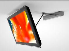 Klappbare weiße TV Deckenhalterung in einem modernen Design für Bildschirme bis 55 Zoll. Komfortabel mit Fernbedienung zu steuern.