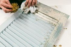 Antique Shutter Beautifully Upcycled with Toscana Milk Paint - Amy Howard At Home Painting Shutters, Mirror Painting, Amy Howard Paint, Painted Tires, Cracked Paint, Layer Paint, Old Shutters, Milk Paint, How To Antique Wood