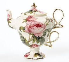 Elegant Romantic Rose Victorian Porcelain Teapot And Teacup Duo Beautiful Gift Item - Lenny's Alice in Wonderland shop