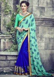 Party Wear Teal Green Georgette Embroidered Work Saree